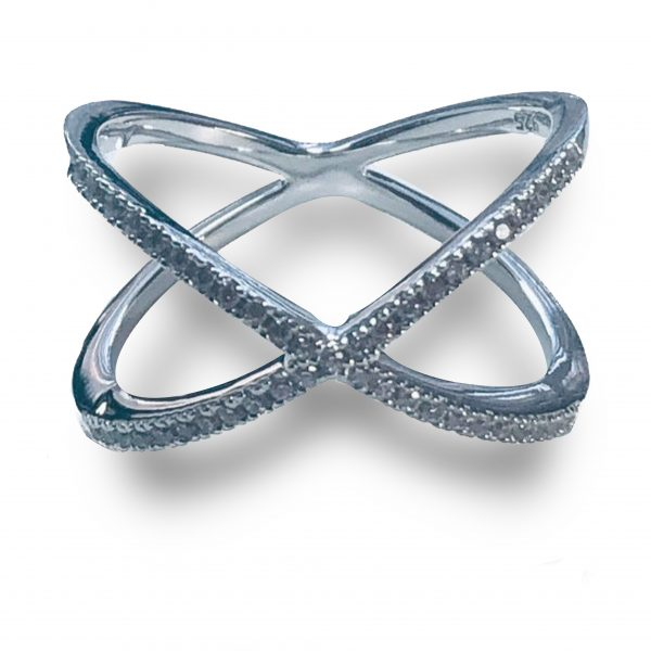 21RL118MJT-Sterling-Silver-Overlapping-X-CZ-Ring